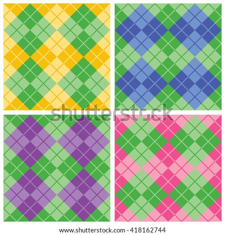 Seamless argyle pattern collection of four alternating colors with green.  Colors are grouped for easy editing. Patterns are in Swatches Palette.