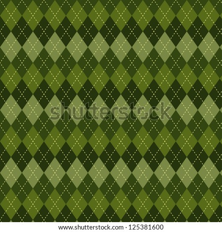 Seamless argyle pattern. Diamond shapes background. Can be used to cloth design, decorative paper, web design, etc. Swatches of seamless pattern included in the file for ease of use. - stock vector