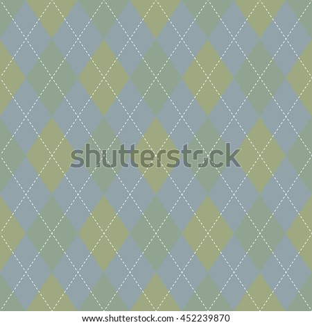 Seamless argyle pattern in pastel shades of sage green & faded bluish gray with white stitch.