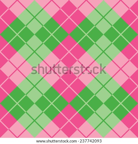 Seamless argyle pattern in pink and green.