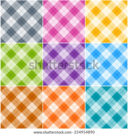 Seamless argyle patterns / textures in different colors for Thanksgiving, home decorating, napkins, tablecloths, picnics. arts, crafts and scrap books. - stock vector