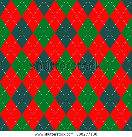 Seamless argyle plaid pattern in red, dark cyan and bright green with white stitch. Christmas colors argyle. Vintage check print.  Xmas theme wrapping paper & season greetings card background.