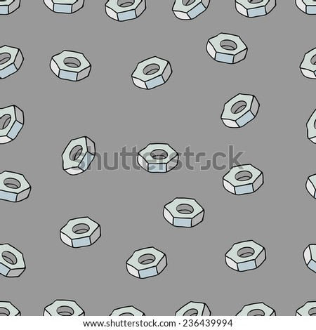 Seamless Array Bolt Nuts Pattern as abstract industrial background - stock vector