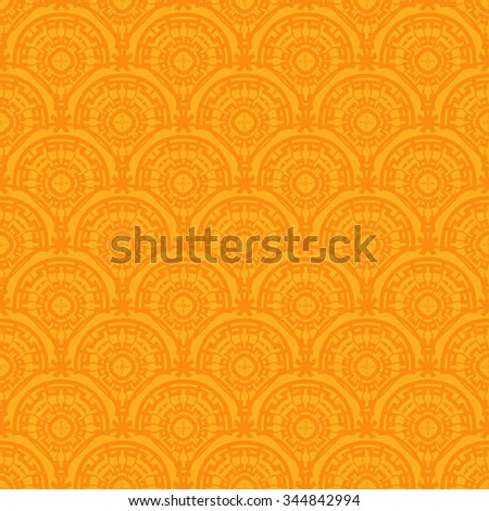 Seamless - art deco floral waves pattern. Vintage vector pattern reminiscent art deco style wave seamless. - stock vector