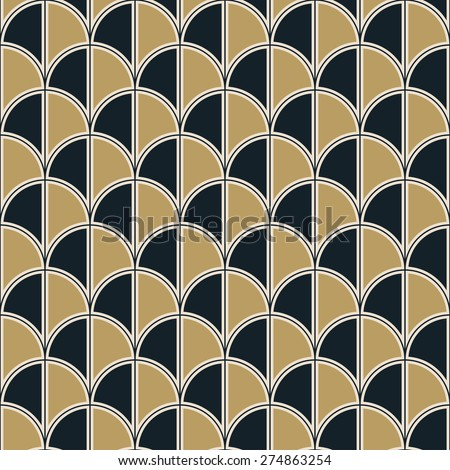 seamless art deco half circle pattern. each detail in separate layer. - stock vector