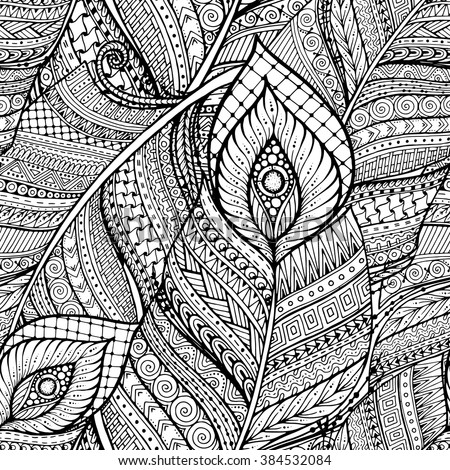 Seamless asian ethnic floral retro doodle black and white background pattern in vector. Henna paisley mehndi doodles design tribal pattern.  - stock vector