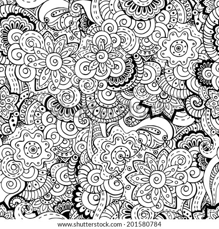 Seamless asian floral retro background pattern in vector. Henna paisley mehndi doodles design ethnic pattern. Used clipping mask for easy editing. Black and white version. - stock vector