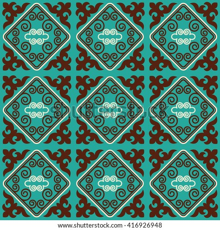 Seamless asian ornaments collection. Historically ornamental of nomadic people. It based on real-Kazakh carpets of felt and wool. Mirror-symmetric illustrations. Region Of Shymkent  - stock vector