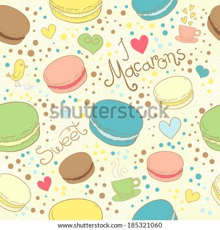 Seamless assorted macarons pattern. Macaroon background. Vector illustrations - stock vector