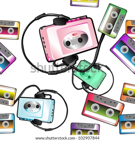 seamless audio tape pattern with audio player over white - stock vector