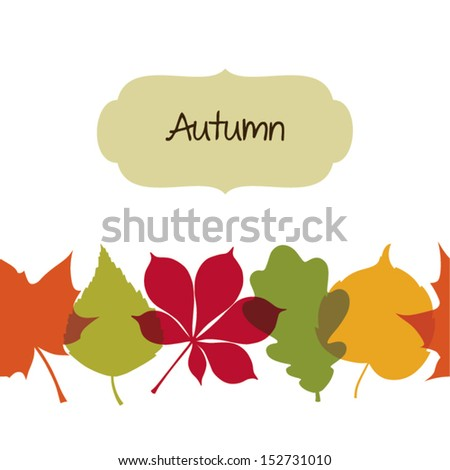 Seamless autumn background with leaves - stock vector