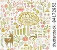seamless autumn forest pattern - stock photo
