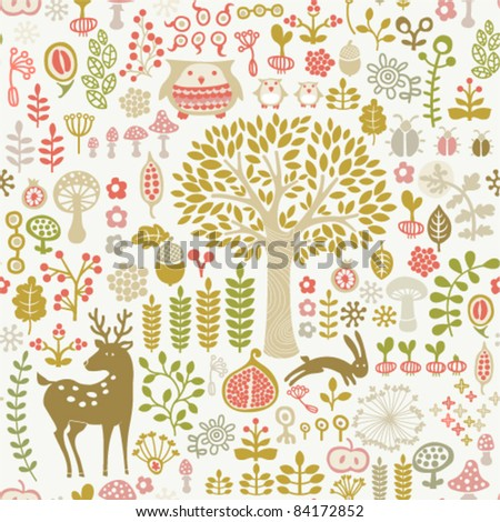 seamless autumn forest pattern