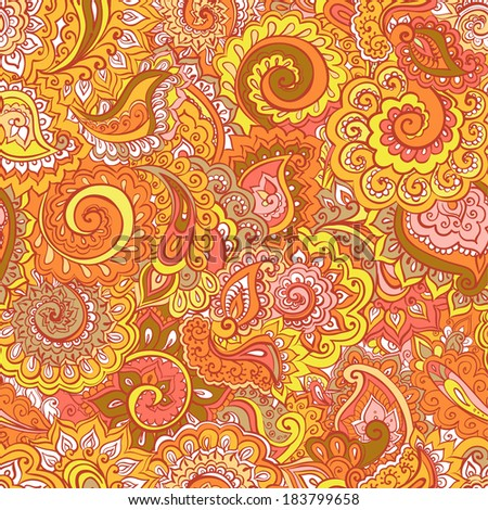 Seamless autumn ornamental background with bright arabic design - traditional ornament