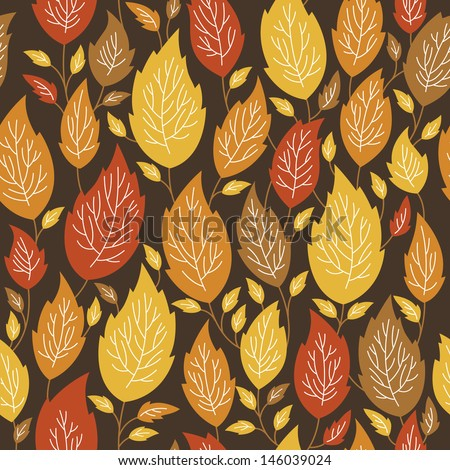 seamless autumn pattern with a color leaves  - stock vector