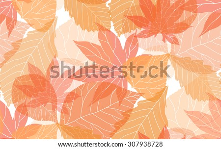 Seamless autumn pattern with colorful translucent leaves for your creativity - stock vector