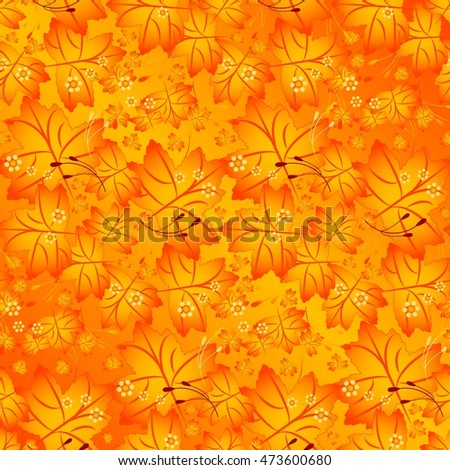 Seamless autumn pattern with maple leaves in tints of orange color. Vector illustration