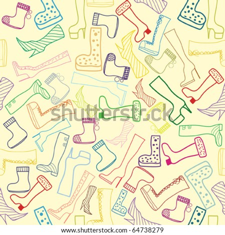 Seamless autumn season vector ladies shoes . Cartoon pattern. Background - stock vector
