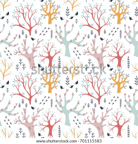 Seamless autumn vector pattern with colorful trees and birds