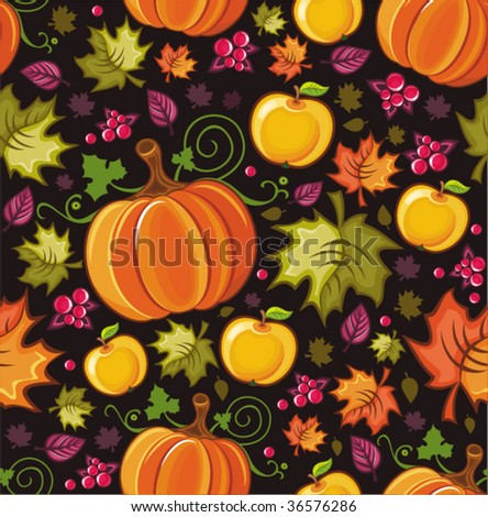Seamless autumnal background 2 - stock vector