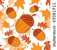 Seamless autumnal pattern with acorns. Vector illustration. - stock vector