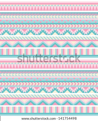 Seamless aztec pattern in pastel tints - stock vector