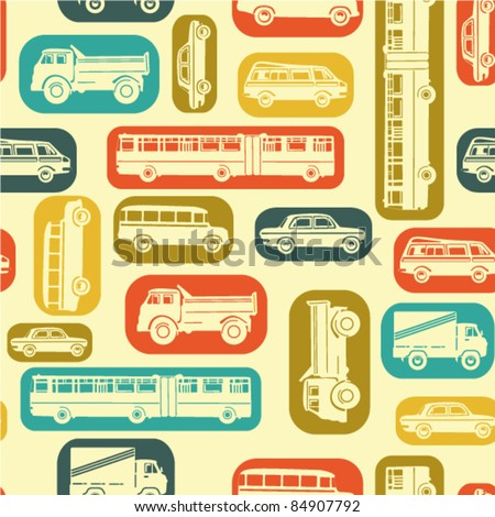 Seamless baby background with cars in retro style - stock vector