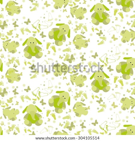 Seamless baby background with elephant, butterflies and foot print. Green baby seamless background with cut elephant. - stock vector