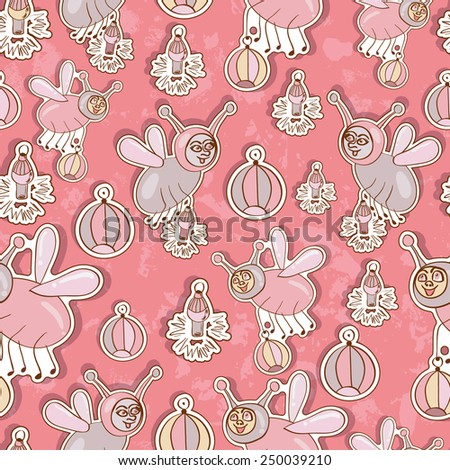 Seamless baby background with insects - stock vector