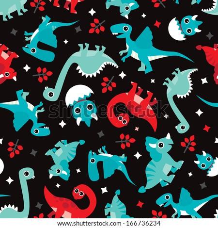 Seamless baby dinosaur animal illustration background pattern in vector  - stock vector