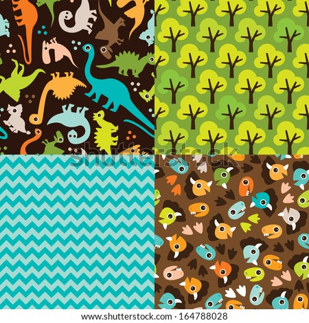 Seamless baby dinosaur animal pattern set illustration background with chevron and trees in vector  - stock vector