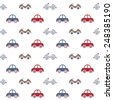 Seamless baby pattern. Many small colored (blue, red and beige) cars on white background - stock vector