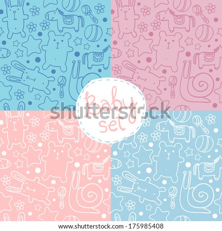 seamless baby pattern with cute cartoon animals for boys and girls. - stock vector