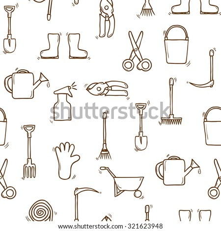 Seamless backgound with cartoon hand drawn garden tools objects. Outdoor concept: watering can, gloves, cutter, pitchfork, shovel, boots, rake, secateurs, pushcart, bucket for your design - stock vector