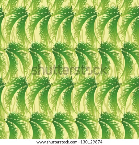 Seamless background, abstract pattern, green branches with leaves of palm trees. Vector - stock vector