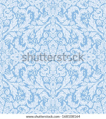Seamless background baroque pattern, in delicate winter colors. Vintage style. - stock vector