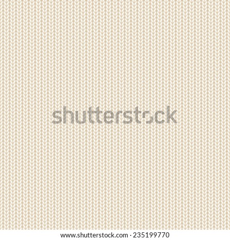 Seamless background, beige knitted pattern, illustration. - stock vector