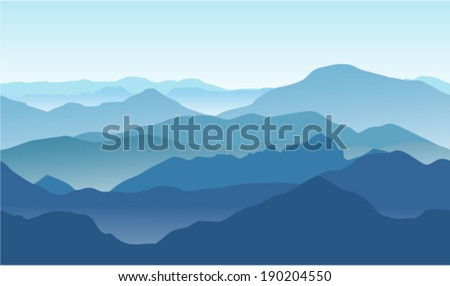 Seamless background. Blue mountains in the fog. - stock vector