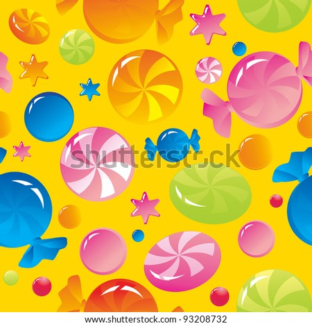 Seamless background: bright multi-coloured sweets - stock vector