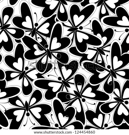 Seamless background, butterflies black silhouettes on white background. Vector