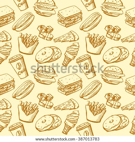 Seamless background by fast food elements. Vector stock illustration