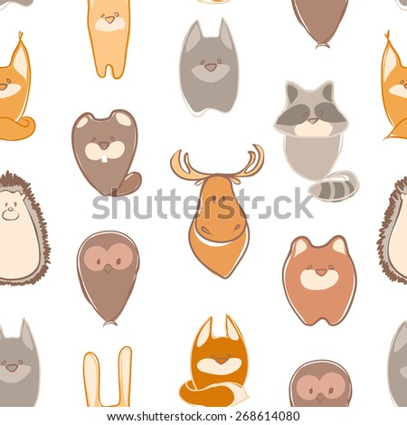 Seamless background card with funny animals. Cute childish seamless pattern in cartoon style. Seamless pattern can be used for wallpapers, pattern fills, web page backgrounds,surface textures - stock vector