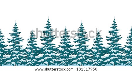 Seamless background, Christmas holiday trees with snow, isolated on white. Vector - stock vector