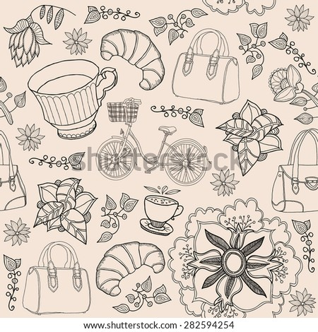 seamless background. coffee. fashion  - stock vector