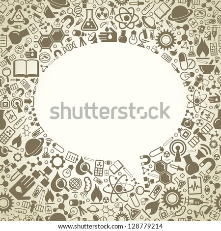 Seamless background consists of the icons of science. The concept of scientific discoveries. The idea of learning. Modern technological solutions - stock vector