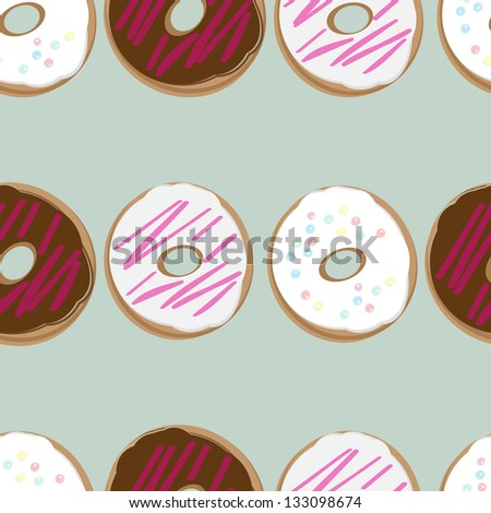 Seamless background design of fresh doughnuts, or donuts, glazed with chocolate and pink and white icing covered in sprinkles for a delicious tea or breakfast - stock vector