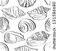 Seamless background, different marine seashells, black contour on white background. Vector - stock vector