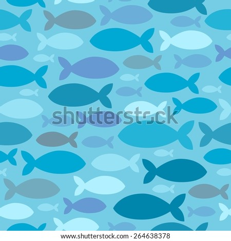 Seamless background fish silhouettes - eps10 vector illustration. - stock vector