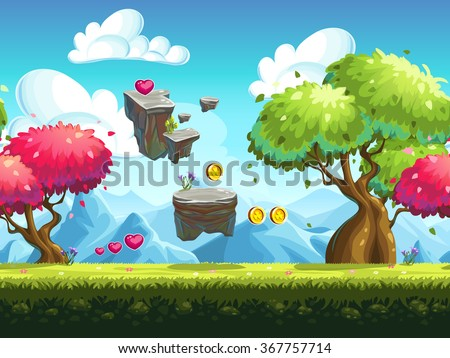 Seamless background flying rocks and colorful trees in the forest against the backdrop of the mountains - stock vector