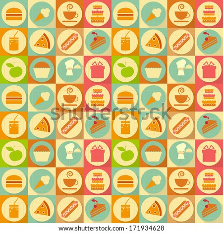 Seamless Background - Food Labels in Retro Style - Flat Design. Vector Illustrations  - stock vector